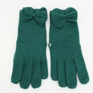 Vintage Adorable Deep Green Bow Knit Gloves